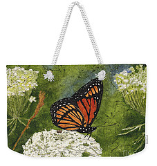 Viceroy Butterfly On Queen Anne's Lace Watercolor Batik Weekender Tote Bag