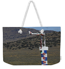 Vicky Benzing Crosses The Finish Thursday Morning Weekender Tote Bag