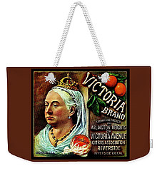 Weekender Tote Bag featuring the painting Victoria Brand Sunkist Oranges by Peter Gumaer Ogden