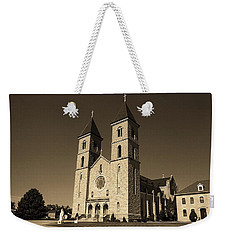 Weekender Tote Bag featuring the photograph Victoria, Kansas - Cathedral Of The Plains Sepia 6 by Frank Romeo