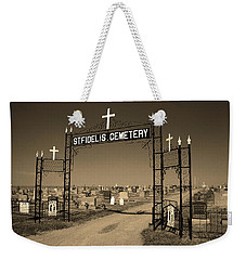 Weekender Tote Bag featuring the photograph Victoria, Kansas - St. Fidelis Cemetery Sepia by Frank Romeo