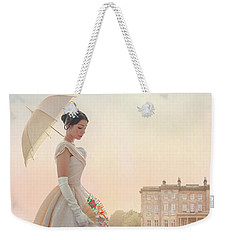 Victorian Woman With Parasol And Fan Weekender Tote Bag