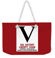 Weekender Tote Bag featuring the mixed media Victory Liberty Loan Industrial Honor Emblem by War Is Hell Store