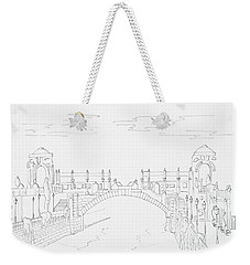 Vienna River Portal In Stadtpark, Vienna - Hand Drawing Weekender Tote Bag by Vlad Baciu