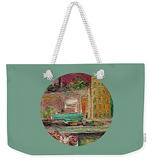 Weekender Tote Bag featuring the painting View From A Balcony by Mary Wolf