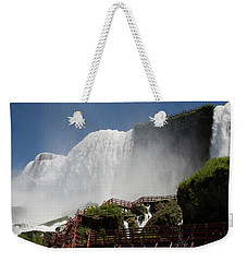 Weekender Tote Bag featuring the photograph View From Below Of Niagara Falls by Jeff Folger