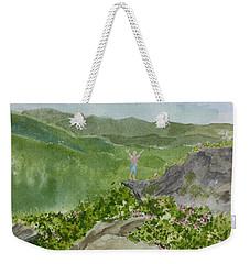 Weekender Tote Bag featuring the painting View From Craggy Gardens - A Watercolor Sketch  by Joel Deutsch