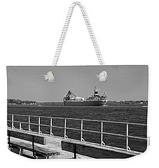 View From The Boardwalk Bw Weekender Tote Bag
