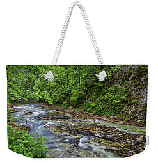 Weekender Tote Bag featuring the photograph View In Vintgar Gorge - Slovenia by Stuart Litoff