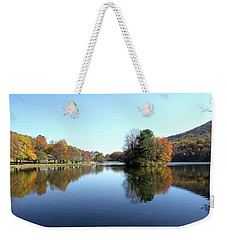 View Of Abbott Lake With Trees On Island, In Autumn Weekender Tote Bag