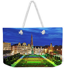 Weekender Tote Bag featuring the photograph View Of Brussels From Jardin Du Mont Des Arts by Barry O Carroll