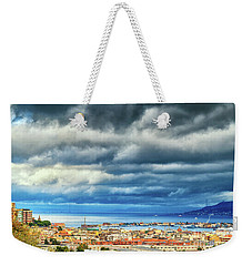 Weekender Tote Bag featuring the photograph View Of Messina Strait Sicily With Dramatic Sky by Silvia Ganora