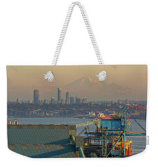 View Of Mount Baker And Vancouver Bc At Sunset Weekender Tote Bag