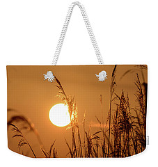 Weekender Tote Bag featuring the photograph View Of Sun Setting Behind Long Grass E by Jacek Wojnarowski