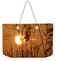 Weekender Tote Bag featuring the photograph View Of Sun Setting Behind Long Grass F by Jacek Wojnarowski