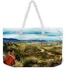Weekender Tote Bag featuring the digital art View Of Vail Lake On Horseback by Rhonda Strickland