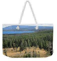 Weekender Tote Bag featuring the photograph View Of Yellowstone Lake From Top Of Trail by Marie Neder