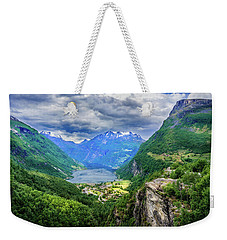 View On Geiranger From Flydalsjuvet Weekender Tote Bag