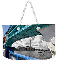 View Through Tower Bridge Weekender Tote Bag by Shirley Mitchell
