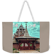 views of Holy gates and Church of the Intercession of the blessed virgin Mary Weekender Tote Bag