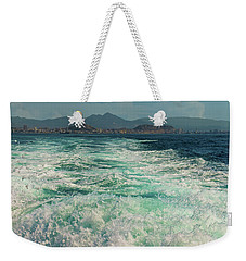 views of the Spanish city of Alicante with Board a pleasure boat Weekender Tote Bag