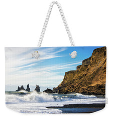 Weekender Tote Bag featuring the photograph Vik Reynisdrangar Beach And Ocean Iceland by Matthias Hauser