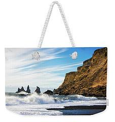 Weekender Tote Bag featuring the photograph Vik Reynisdrangar Beach And Ocean Iceland by Matthias Hauser