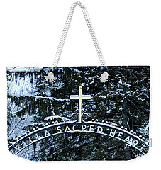 Weekender Tote Bag featuring the photograph Villa Sacred Heart Winter Retreat Golden Cross by John Stephens