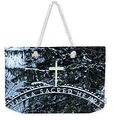 Villa Sacred Heart Winter Retreat Golden Cross Weekender Tote Bag by John Stephens