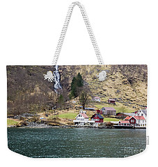 Weekender Tote Bag featuring the photograph Village On A Fjord by Suzanne Luft