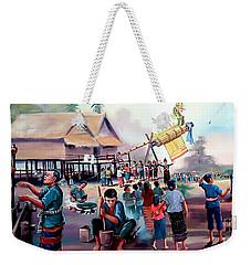 Village Rocket Festival-vintage Painting Weekender Tote Bag by Ian Gledhill