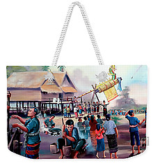 Village Rocket Festival-vintage Painting Weekender Tote Bag