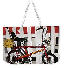 Vintage 1970s Bike With Rucksack  Weekender Tote Bag