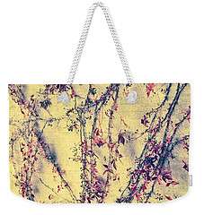 Vines On Yellow Wall Abstract Weekender Tote Bag by Tony Grider