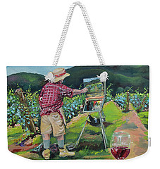 Weekender Tote Bag featuring the painting Vineyard Plein Air Painting - We Paint With Wine by Jan Dappen