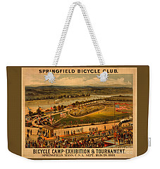 Weekender Tote Bag featuring the photograph Vintage 1883 Springfield Bicycle Club Poster by John Stephens