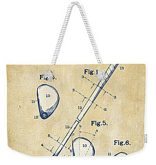 Vintage 1910 Golf Club Patent Artwork Weekender Tote Bag by Nikki Marie Smith