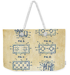Vintage 1961 Lego Brick Patent Art Weekender Tote Bag