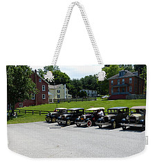 Vintage Auto Display Weekender Tote Bag by Donald C Morgan