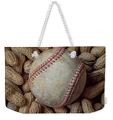 Weekender Tote Bag featuring the photograph Vintage Baseball And Peanuts Square by Terry DeLuco