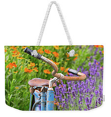 Weekender Tote Bag featuring the photograph Vintage Bike In Lavender by Patricia Davidson