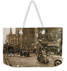 Vintage Bike Lady Weekender Tote Bag