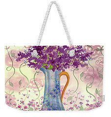 Weekender Tote Bag featuring the painting Vintage Blue Flower Bouquet by Cathie Richardson