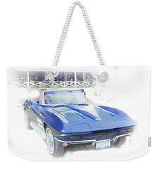 Weekender Tote Bag featuring the photograph Vintage Blue Vette by Judy Hall-Folde