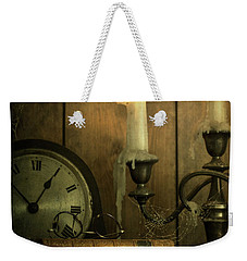 Vintage Books With Candles And An Old Clock Weekender Tote Bag