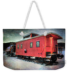 Weekender Tote Bag featuring the photograph Vintage Caboose - Winter Train by Joann Vitali