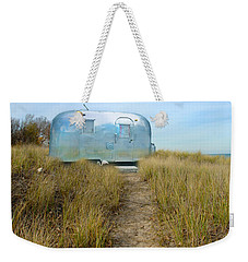 Vintage Camping Trailer Near The Sea Weekender Tote Bag