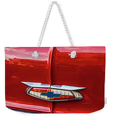 Weekender Tote Bag featuring the photograph Vintage Chevy Hood Ornament Havana Cuba by Charles Harden