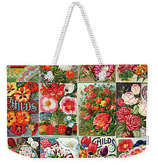 Vintage Childs Nursery Flower Seed Packets Mosaic  Weekender Tote Bag