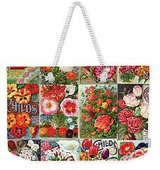 Vintage Childs Nursery Flower Seed Packets Mosaic  Weekender Tote Bag